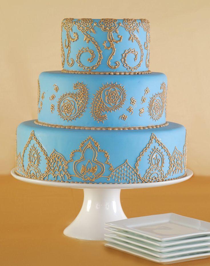 wedding henna cake gold on blue mehindi inspired Indian traditional style wedding cake
