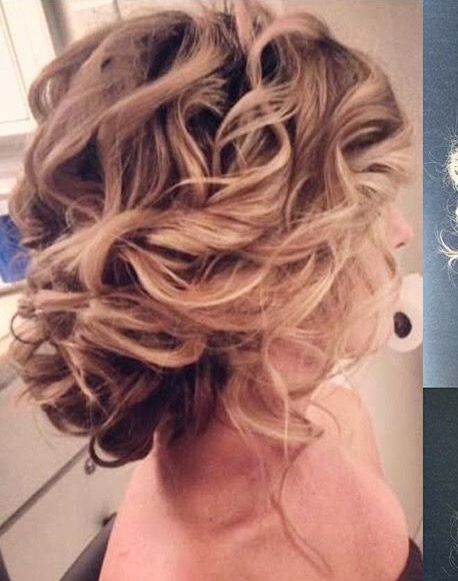 Natural looking curly updo
