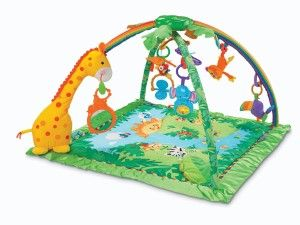 Rain-forest Melodies and Lights Deluxe Gym Play gyms are made to stimulate growing babies with music, lights, nature sounds, games and textures.  http://bit.ly/1t80Zud