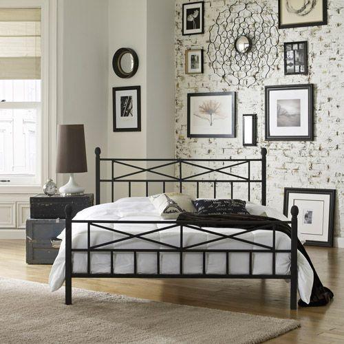 premier christel metal platform bed frame full with bonus base wooden slat system walmart - Metal Bed Frames Full