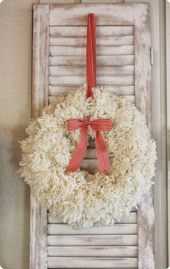 Anthro-inspired Wintery Pom-Pom Yarn Wreath