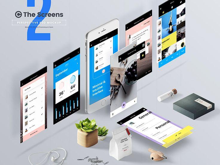The Screens V2 Free Perspective Psd Mockup Template Psd Mockup Template Mockup Psd Website Mockup Psd
