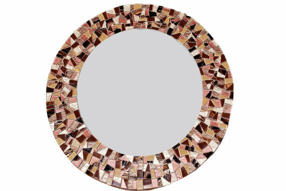 Round Mosaic Mirror Brown Wall Mirror by GreenStreetMosaics, $160.00 #mosaic #mirror
