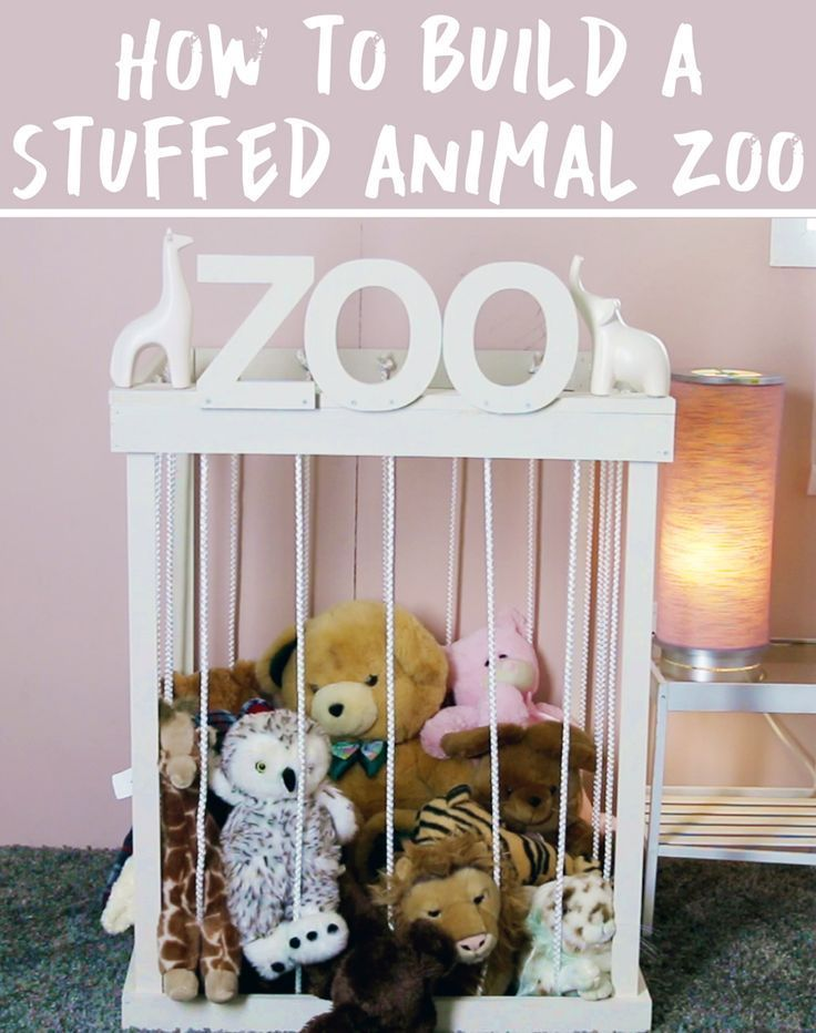 Get your kids to organize their room with a stuffed animal zoo