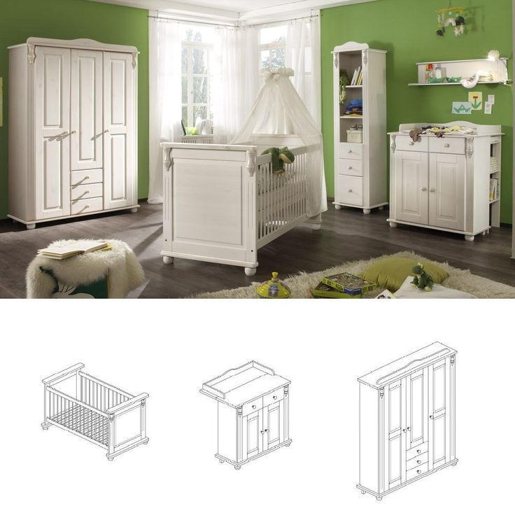 Simple Babyzimmer Set tlg Lara Schrank trg Kiefer massiv wei