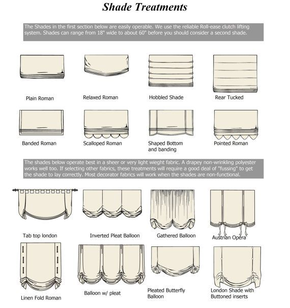 Curtains' and Roman shades' designs