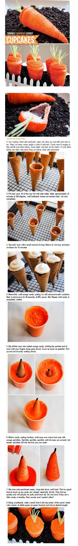 Wortel gemaakt van ijshoorntje met daarin cupcakesbeslag