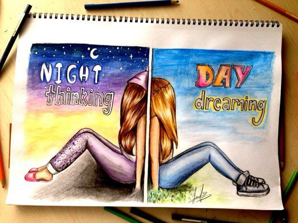 Night Thinking Day Dreaming colorful art artistic drawing day night