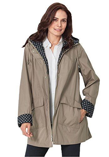 Fashion Bug Women's Plus Size Raincoat With Fun Dot Trim www.fashionbug.us #PlusSize #FashionBug #Jackets