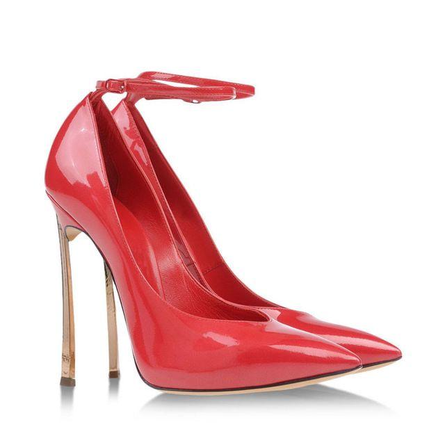 Punta a punta tacco 12 cm donna scarpe da sposa rosso di modo della pelle verniciata bocca superficiale cinghia di legatura fibbie tacco a spillo