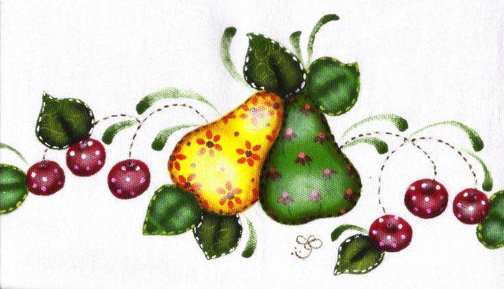 pintura country em tecido pintura em tecido frutas folk simples mas ...