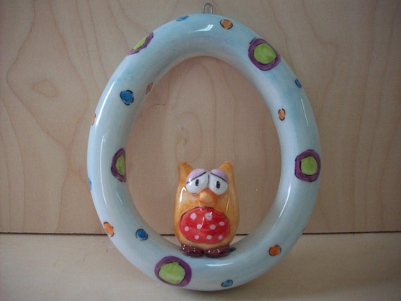 handmade ceramic wreathshaped egg with an owl by eudoxiahandmade,