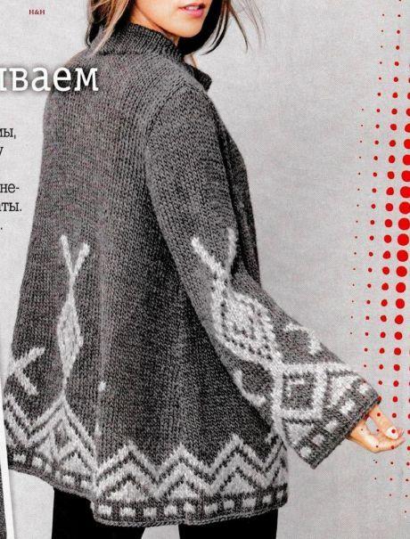 Кардиган с жаккардовым узором спицами. Вязаные модели с жаккардовым рисунком | Домоводство для всей семьи