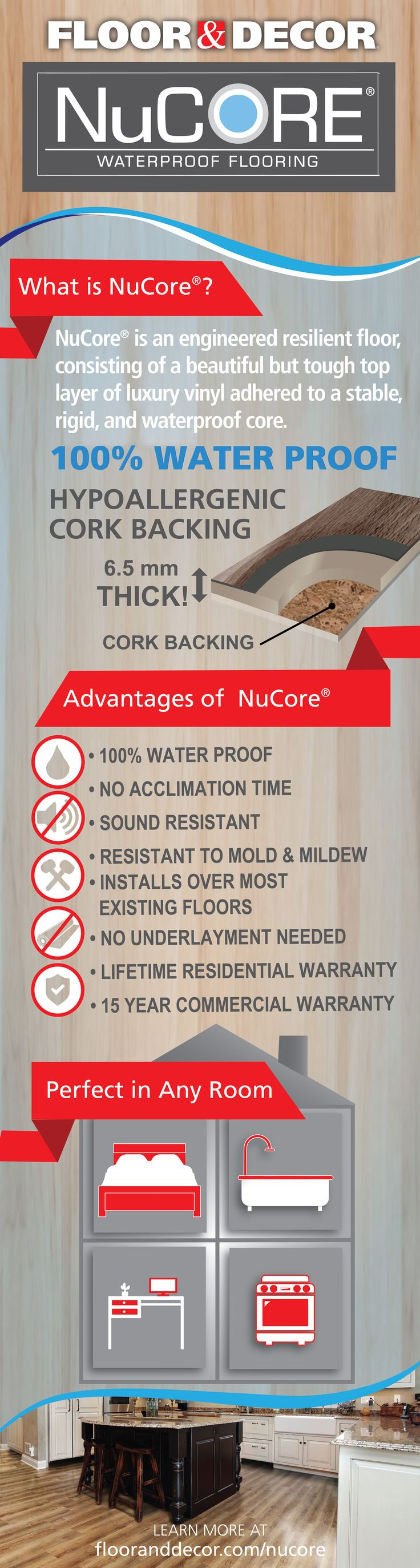 NuCore 100% waterproof flooring is a durable and practical option for any space. Having the look and feel of real hardwood, NuCore installs over most existing floors, with little to no prep. Plus, there's no acclimation waiting time so you can start installing NuCore today!