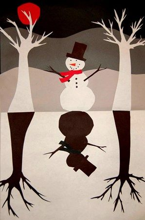 Snowman collage- positive/negative Similar to Jack-o-Lantern idea lovely way the background is set out.
