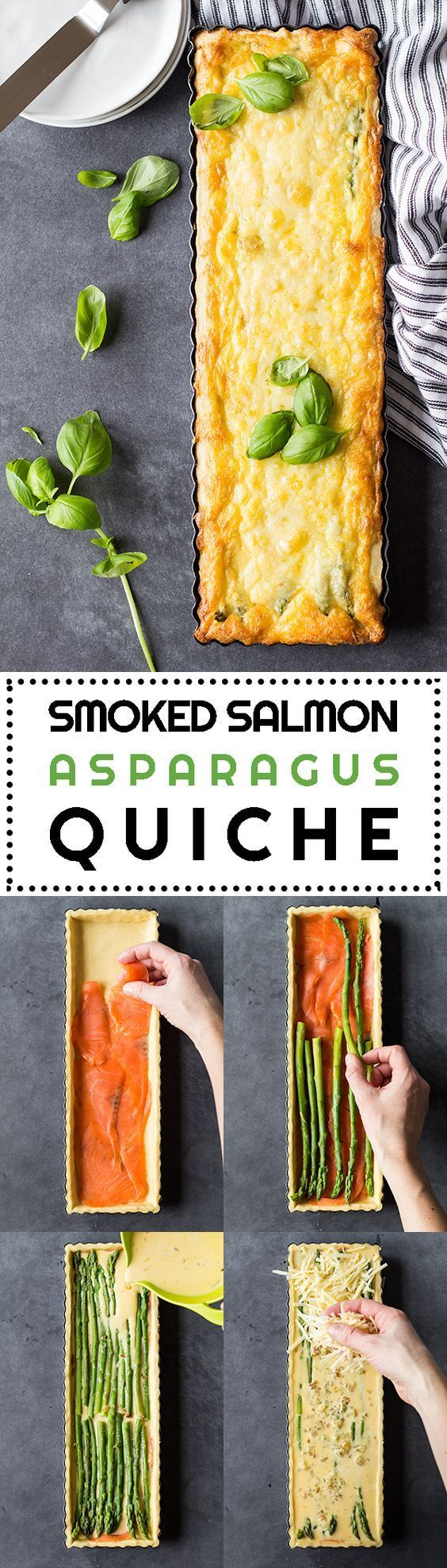 A Smoked Salmon Asparagus Quiche sure to make you fall in love with quiches once and for all. A healthy delicious lunch or dinner full of protein and flavor!
