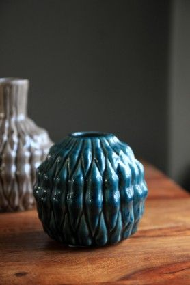 Ceramic Eden Spherical Vase - Sea Blue Green