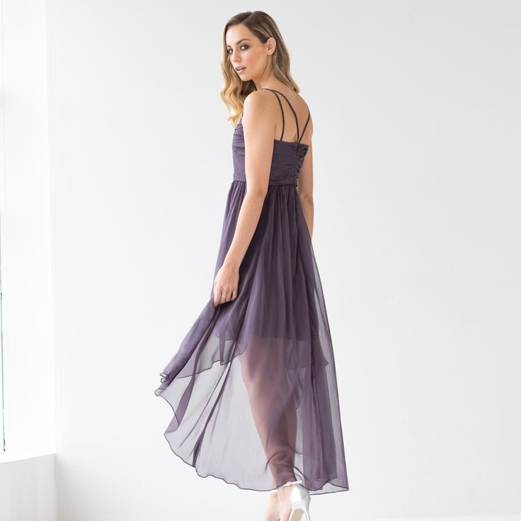 """The show-stopping Dakota Gown oozes glamour, perfect for those special events. Featuring a statement high low hem, this style is constructed to flatter and create the ultimate silhouette. """"Light, floaty and filled with movement, this soft and pretty fabric is effortless in style."""""""