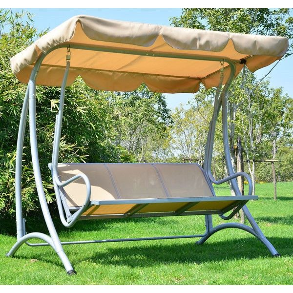 Sturdy 3 Person Outdoor Patio Porch Canopy Swing In Sand Color