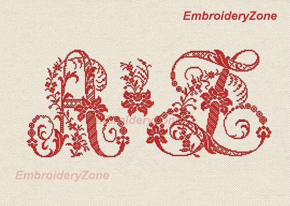 Floral old Alphabet of monograms in style manual french and classic cross-stitch. Machine Embroidery designs. 24 Letters.Hoop 5X7 2 variants