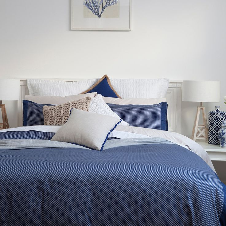 Inspired by a pocket square, Muse Lloyd Quilt Cover Set is a perfect design for the gents. Team with Hamptons inspired accessories for a sophisticated coastal look or keep things dark and moody to bring out the rich navy colour palette - #PillowTalkHome