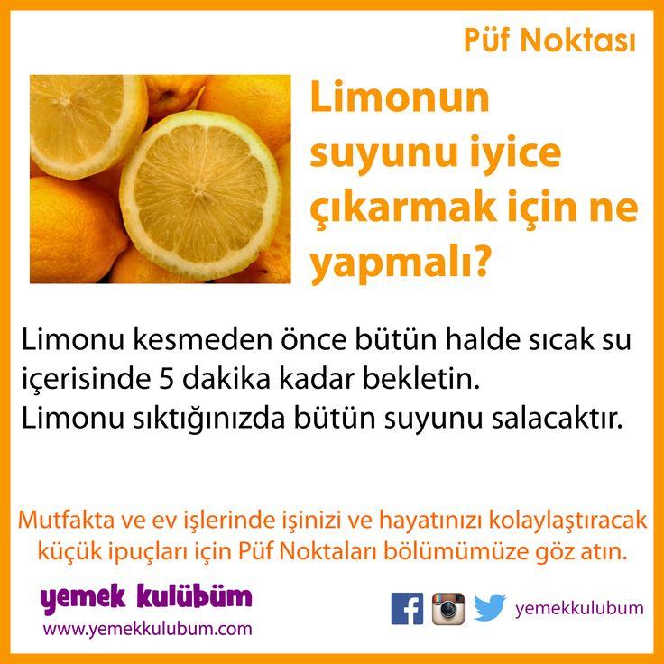 MUTFAKTA İŞİNİZİ KOLAYLAŞTIRACAK PÜF NOKTALARI : Limondan daha çok su çıkarak için... http://yemekkulubum.com/puf-noktasi-liste/mutfakta-genel-puf-noktalari #evişi #mutfakişleri #limon #evişleri #limonsuyu #mutfak #pratikbilgiler #pratik #ipucu #ipuçları
