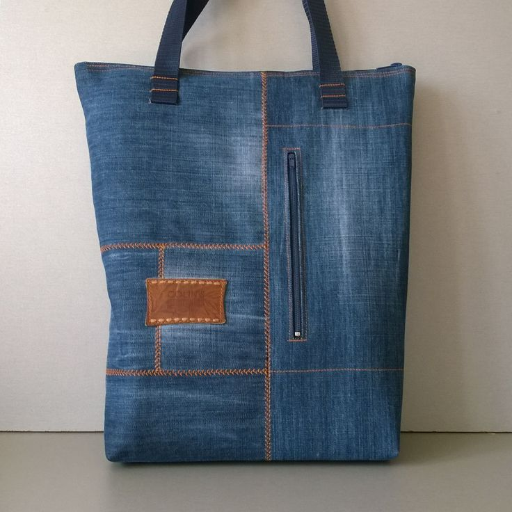 Jeans reusable shopping bag with pockets Upcycled denim product Large canvas tote Insulated texture fabric basket Stranger things natural