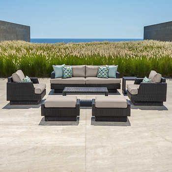 Portofino Comfort™ Espresso and Taupe 7-piece Deep Seating Sofa Set