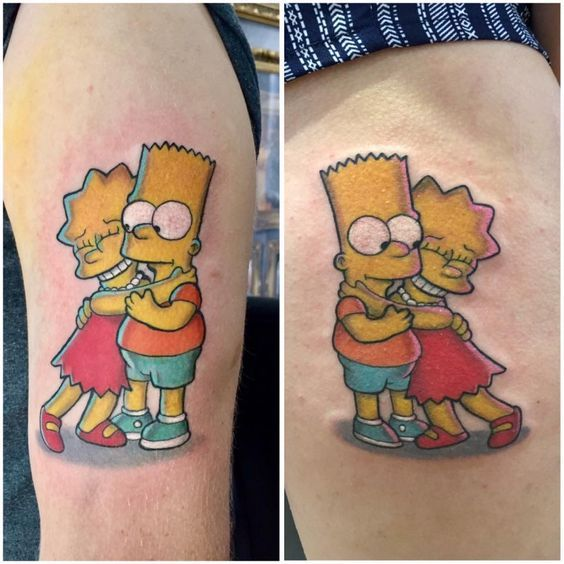 Bart And Lisa Simpson Tattoo By Kris D Limited Availability Revelation Tattoo Studios