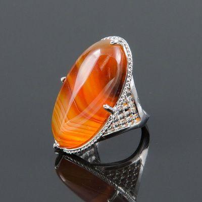Кольцо из натурального сердолика -  Маркиза