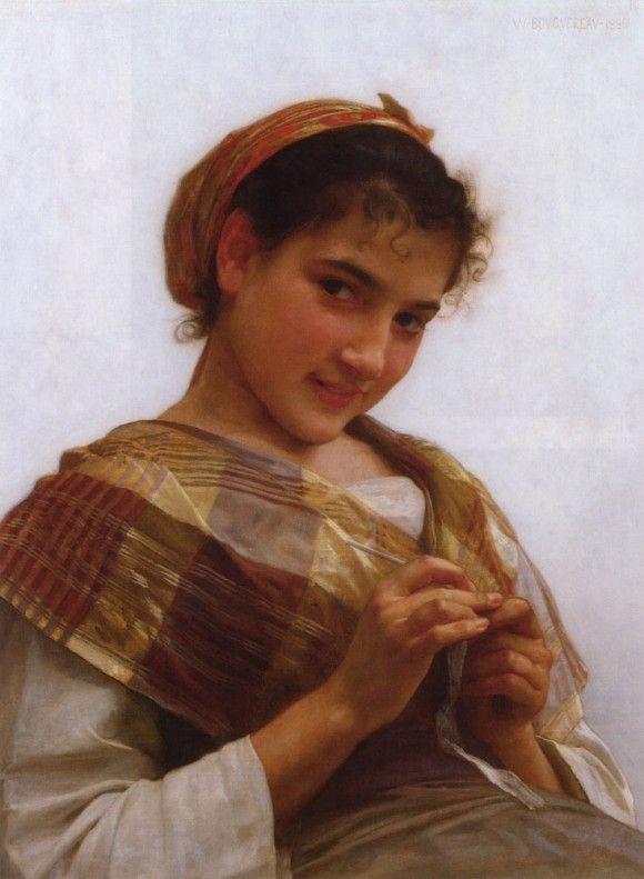 Portrait of a Young Girl Crocheting - Вильям Адольф Бугро
