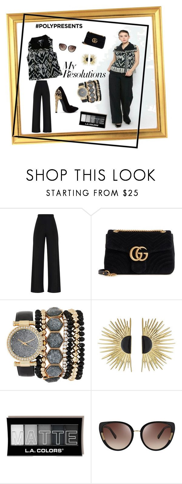"""""""#PolyPresents: New Year's Resolutions"""" by kanzicollection on Polyvore featuring Gucci, Jessica Carlyle, Aurélie Bidermann, Oscar de la Renta, contestentry and polyPresents"""