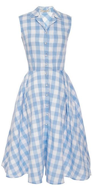 Natasha Zinko Light Blue Checked Dress