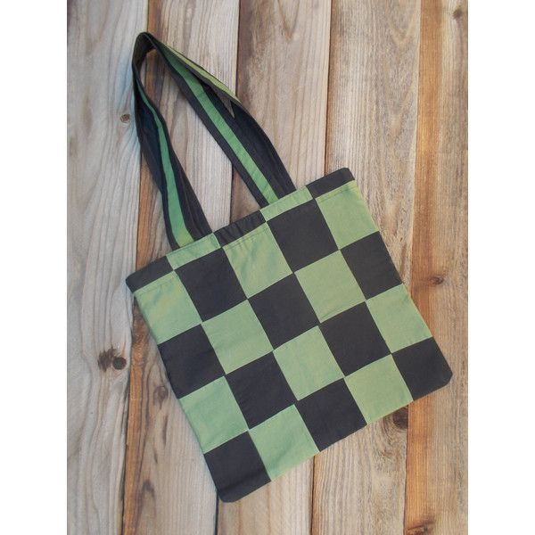 Green Black Checkered Tote Bag. Green Tote Bag. Patchwork Tote Bag. (£16) ❤ liked on Polyvore featuring bags, handbags, tote bags, patchwork tote bag, lightweight tote bag, green tote bag, shoulder strap handbags and tote handbags