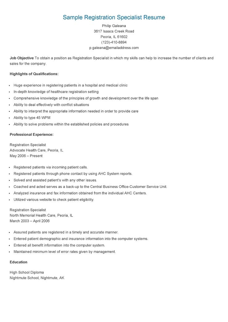 sample registration specialist resume resame pinterest