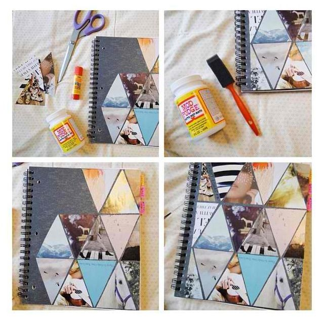 diy notebook decor.  Just cut pictures into triangles, fit, glue on, and modge podge when done!