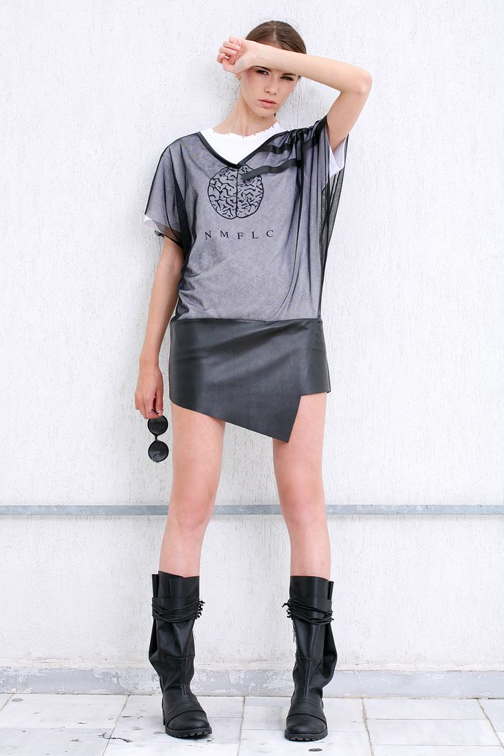 Black leather and tulle dress blouse