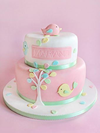 sabores da gula - christening   - christening cake - birdie cake