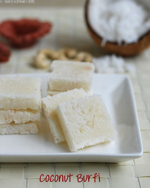 Coconut burfi. grated coconut, cashews. I will try with less sugar or substituting sugar with slivered dates to make it healthier.