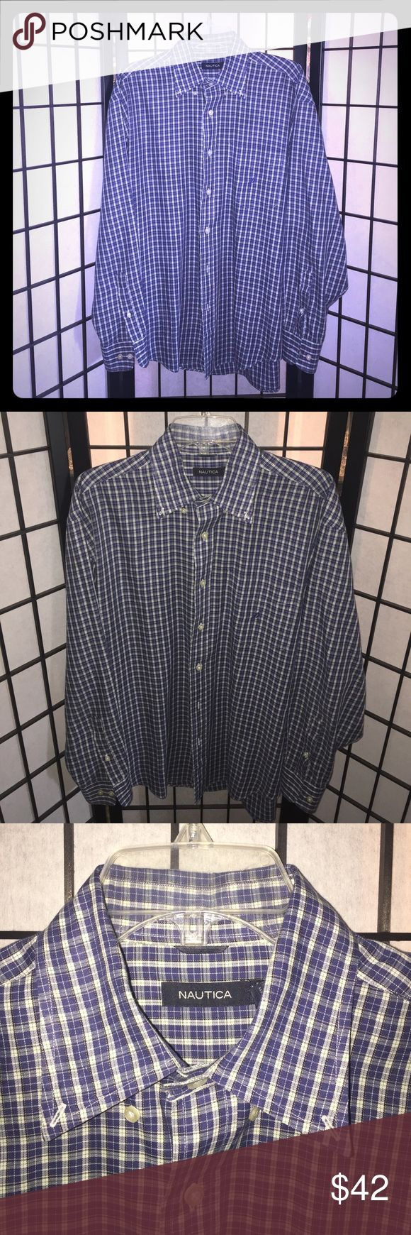 Mens Nautica Casual Button Down Shirt Blue Plaid Nautica Blue Plaid Button Down Longsleeve Shirt. Size Large. 60% Cotton 40% Polyester. Excellent preloved condition. 1 pocket in front. Nautica Shirts Casual Button Down Shirts