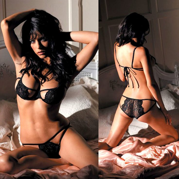 Black Lace Open Bra Underwear Babydoll Dress Sleepwear Nightwear Sexy G-String
