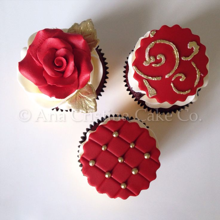 Red and Gold Bridal Shower Cupcakes