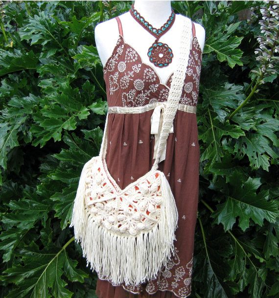 Creme crochet fringed purse festival bag by FairyTaleNightmares