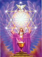 メルキゼデクは聖なるガイダンスに基づいて奉仕する全ての存在を含む、宇宙の秩序メルキゼデクの高級神官です。彼は地球上で生活をしたことがありますが、肉体をもって生まれてはこず、また死ぬこともありませんでした。メルキゼデクは人類に自由と許しと創造性と錬金術の科学、そして変容、聖なる儀式をギフトとして与えてくれます。この絵では彼は聖なる杯と生命の炎の手入れをしています。