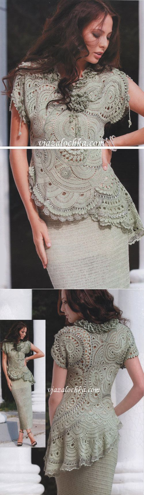 Freeform crochet top and skirt. I would love to make this and be able to wear it!