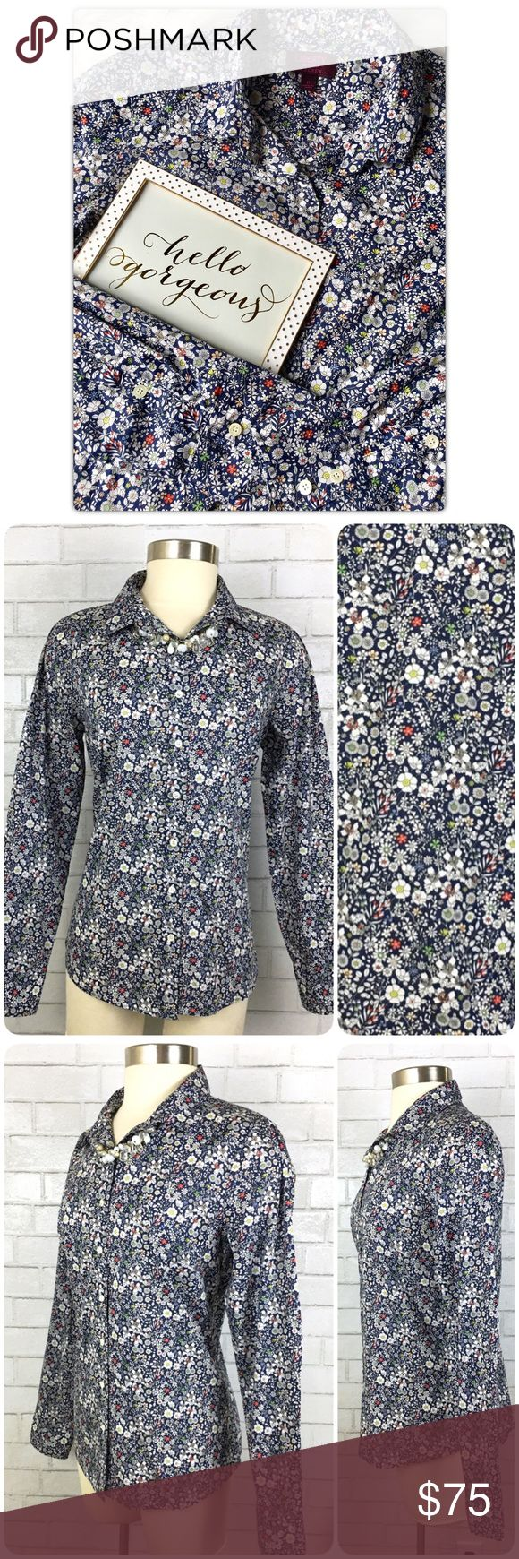 J.Crew Liberty perfect shirt June's Meadow floral This women's button down shirt is in excellent pre-owned condition! Retail:  $150  Liberty perfect shirt in June's Meadow floral  The famous perfect shirt in a signature print from London's Liberty Art Fabrics (famous for its eye-popping florals and paisleys since 1875). Features impeccable tailoring with precisely placed bust darts and back princess darts for a slimming, waist-defining fit that's a bit more feminine than the boy shirt…