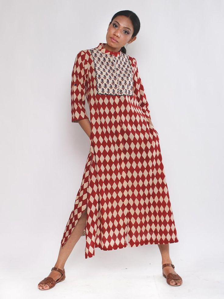 Kora Red Checks Chaubandi Cotton Shirtdress