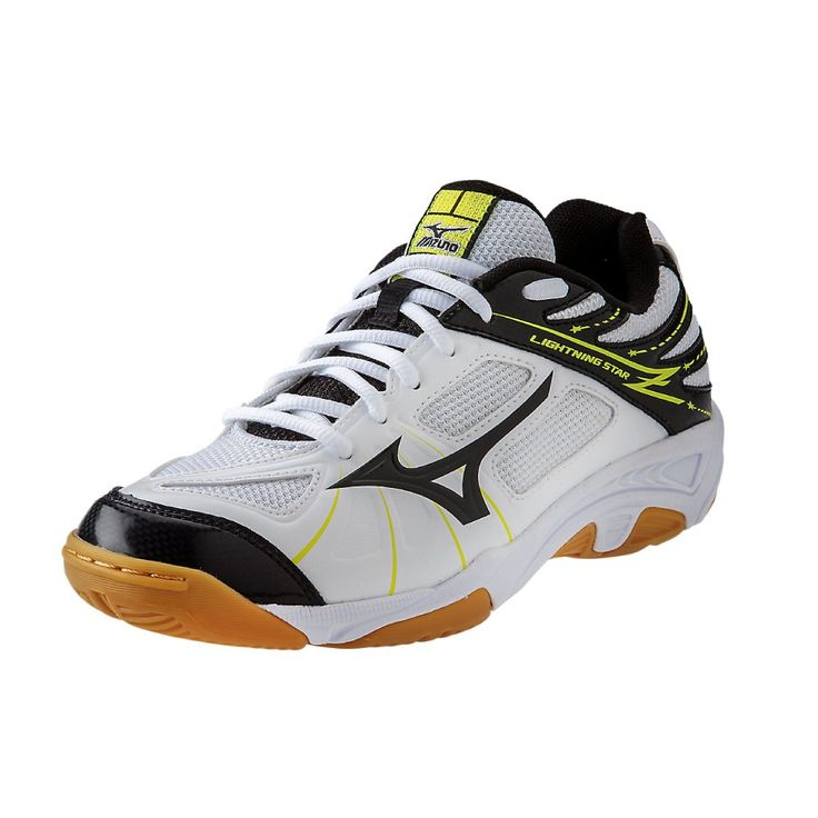 Mizuno Lightning Star Z JNR WH-BK Volleyball Shoe (Little Kid/Big Kid), White/Black, 2.5 D US Little Kid. Breathable air mesh upper. Non-marking outsole. Dynamotion groove.