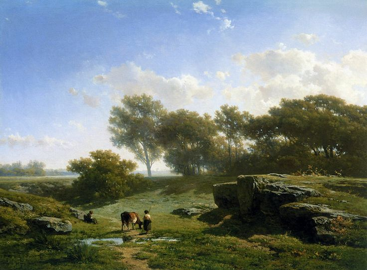 Willem Roelofs (1822-1897)- cown and shepherd in summer landscape, oil on canvas.
