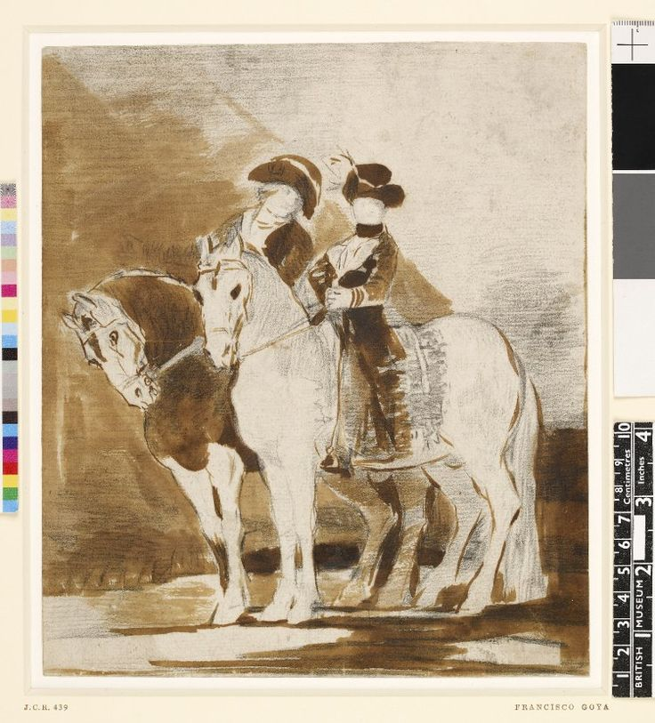 Image gallery: drawing - Double equestrian portrait of Charles IV and María Luisa, study for an unexecuted painting; María Luisa sitting astride a horse turned to left and standing nearest to foreground, beside her Charles leaning slightly towards her. c.1799 Graphite and brush and brown ink, with brown wash